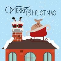 vrolijke kerstkaart met de kerstman in schoorsteen