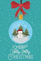 vrolijke kerstkaart met ornament opknoping vector