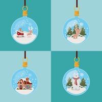vrolijke kerstkaart met ornamenten opknoping