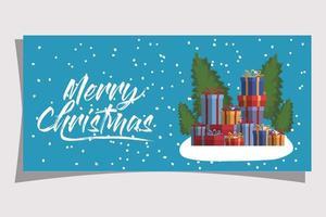 vrolijke kerstkaart met geschenkdozen vector