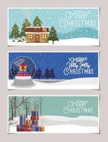 vrolijke kerstkaartenset vector