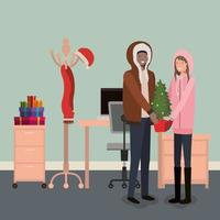 sex tussen verschillendre rassen paar kerst vieren vector