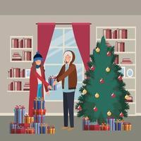 paar vieren kerst vector