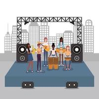 groep interraciale vrouwen die muziek in een band spelen