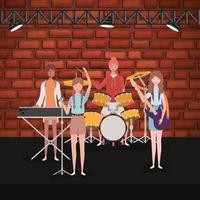 groep vrouwen die muziek in een band spelen
