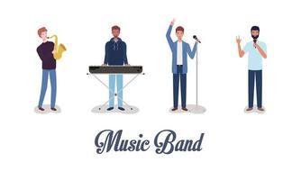 groep interraciale mannen spelen muziek in een band