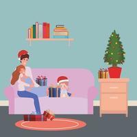 familie vieren kerst thuis