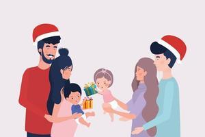 familieleden met kerstcadeaus viering