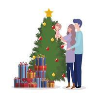 familieleden met de kerstviering van de pijnboom