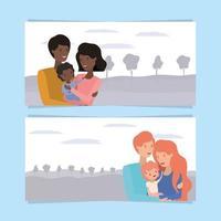 schattige en gelukkige gezinsleden banner set