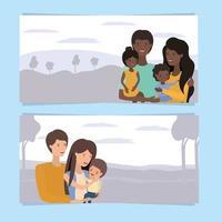schattig en gelukkig gezin banner set