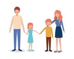 schattige en gelukkige karakters van gezinsleden