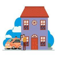 jong stel met slimme auto en huisscène