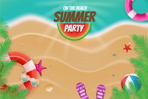 Op de de partij topview van de strandzomer scène als achtergrond