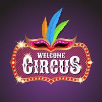 Circus-bannerontwerp als achtergrond met gloeilampenkader vector