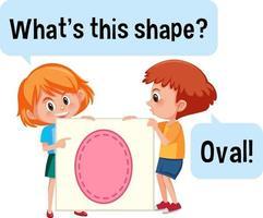 kinderen houden een ovale vormbanner met wat is dit vormlettertype
