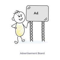 reclame door stripfiguur vector
