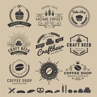 Sets van bak winkel logo vector