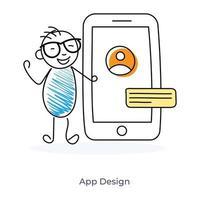 app-ontwerp door een stripfiguur