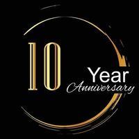 10 jaar verjaardag viering gouden en zwarte kleur vector sjabloon ontwerp illustratie