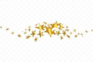 goudgele 3d sterren vallen. vector confetti ster achtergrond. gouden sterrenkaart. confetti vallen chaotisch decor.