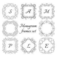 8 monogram frames. Retro-stijlenset. Hand getrokken ornamenten.