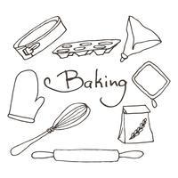 Hand getrokken bakken tools set. Bakkerij vector elementen schets.