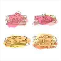 Vector pannekoekillustratie. Set van 4 handgetekende pannekoeken met kleurrijke spatten.