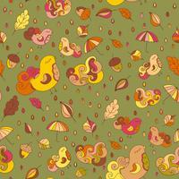 Naadloos patroon met vogels en bladeren. Vector herfst thema achtergrond. Eindeloos patroon voor faric of andere ontwerpen.