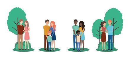 schattig en gelukkig interraciale familie in het park