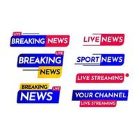 breaking news, live streaming, breaking news live, hot news live streaming label vector sjabloonontwerp illustratie