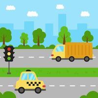 stadslandschap met cartoon vervoer op de weg. vector