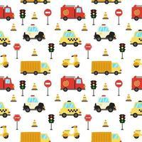 naadloze patroon met schattige cartoon transportmiddelen vector