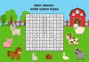 boerderijdieren zoeken puzzel voor voorschoolse kinderen. vector