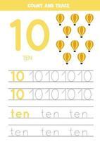 tracering nummers werkblad met cartoon luchtballonnen