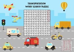 transport betekent zoekpuzzel voor voorschoolse kinderen. vector