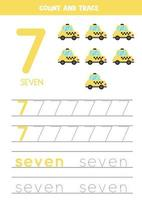 tracering nummers werkblad met cartoon taxi cab.