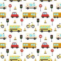 naadloze patroon met schattige cartoon transportmiddelen.