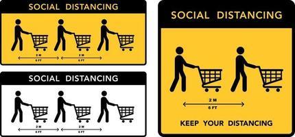sociale afstandsbanner. houd de afstand ingesteld