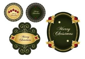 Groen en Gouden Kerstmis Etiket Vector Pack
