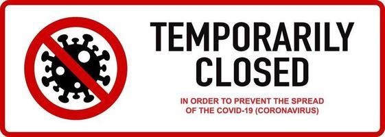 kantoor tijdelijk gesloten wegens coronavirus-teken vector
