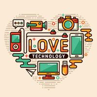 verliefd op technologie vector