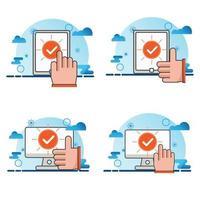 computer en smartphone met vinkje pictogramserie vector