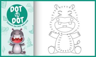 verbind de stippen-kindergame en kleurpagina met een schattige illustratie van het nijlpaardkarakter vector