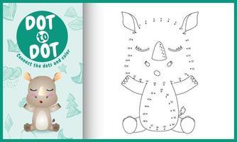 verbind het stippen-kinderspel en kleurpagina met een schattige neushoornkarakterillustratie vector