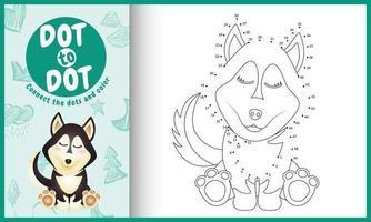 verbind de stippen-kindergame en kleurpagina met een schattige husky-hondkarakterillustratie vector