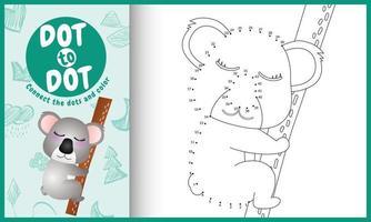 verbind de stippen-kindergame en kleurpagina met een schattige koala-karakterillustratie vector