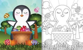 kleurboek voor kinderen als thema gelukkige paasdag met karakterillustratie van een schattige pinguïn in het emmer-ei vector