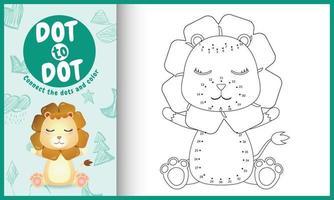 verbind de stippen-kindergame en kleurpagina met een schattige leeuwkarakterillustratie vector