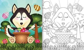 kleurboek voor kinderen als thema gelukkige paasdag met karakterillustratie van een schattige husky hond in het emmer-ei vector